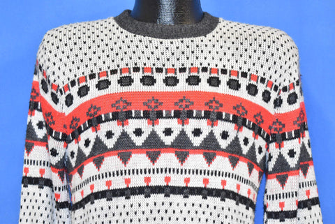 80s Diamond Pattern Snowflake Winter Holiday Sweater Extra Small