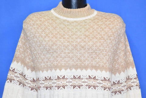 80s Beige White Criss Cross Snowflake Sweater Medium