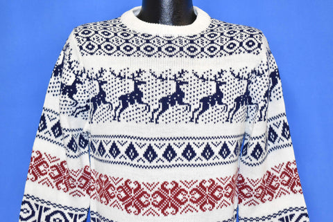80s Macy's Reindeer Snowflake Diamond White Sweater Small