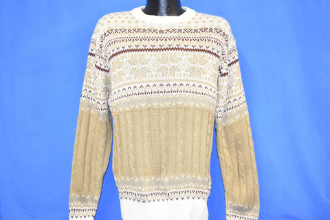 80s Buckingham Snowflake Zigzag Diamond Pullover Sweater Medium