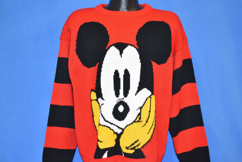 90s Mickey Mouse Walt Disney Red Striped Sweater Large