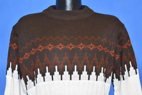 80s Silton Brown White Orange Ski High Neck Pullover Sweater Large