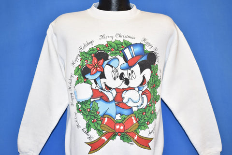 90s Mickey & Minnie Mouse Happy Holidays Sweatshirt Medium
