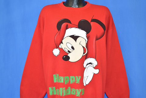 90s Mickey Mouse Happy Holidays Christmas Sweatshirt Extra Large