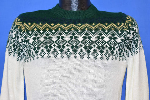 70s Gimbels Green White Knit Sweater Small