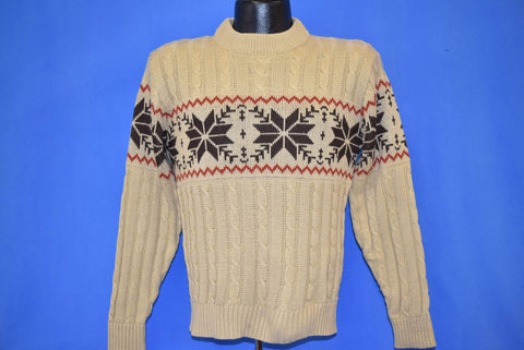 70s King's Road Snowflakes Cable Knit Sweater Small