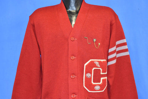 50s Red Varsity Letterman 1953 CCS Wool Cardigan Sweater Large