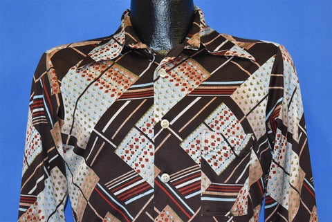70s Floral Geometric Big Collar Brown Disco Shirt Medium