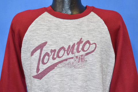 80s Toronto City Skyline Gray Maroon Sweatshirt Small