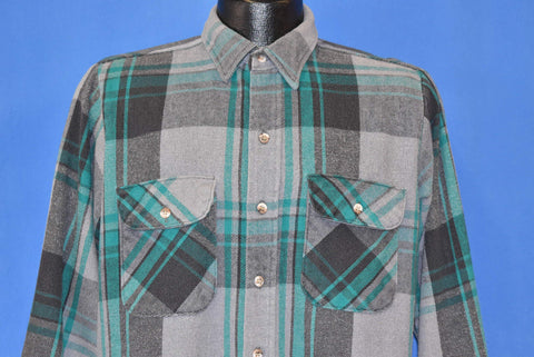 80s Dakota Gray Plaid Flannel Button Down Shirt Medium