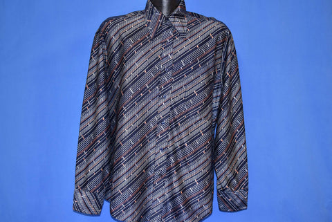 70s Zayre Diagonal Stripes Big Collar Disco Shirt Large