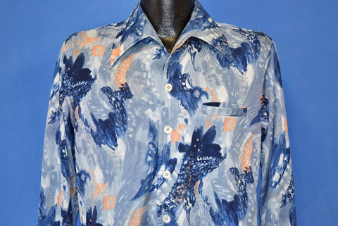 70s Abstract Blue Peach Button Front Disco Shirt Medium