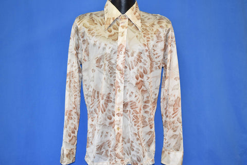 70s Robert Bruce Butterfly Wings Button Down Disco Shirt Medium
