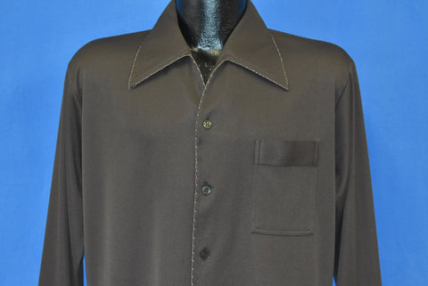 70s Brown Polyester Big Collar Pocket Disco Shirt Large