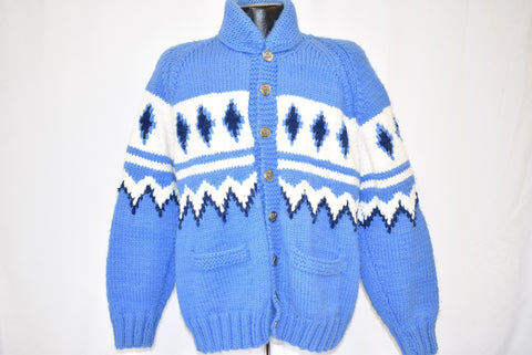 60s Cowichan Blue White Wool Knit Cardigan Sweater Large