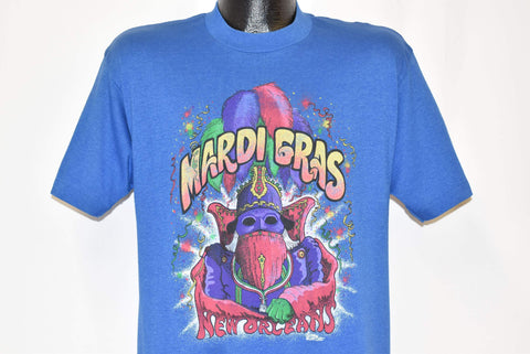 80s Mardi Gras New Orleans Louisiana Mask Blue t-shirt Large