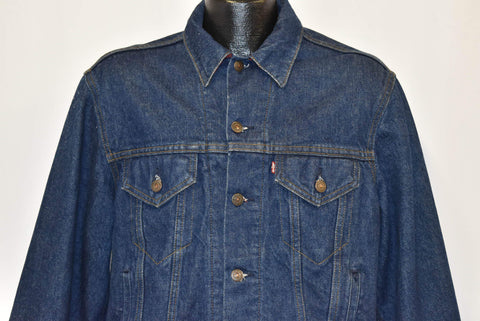90s Levis Trucker Type 3 70411 Denim Plaid Lined Jacket Small