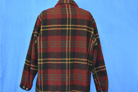 80s Woolrich Red Black Yellow Plaid Wool Jacket Extra Large
