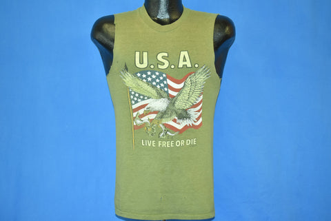 80s USA Live Free or Die Muscle Tee t-shirt Extra Small