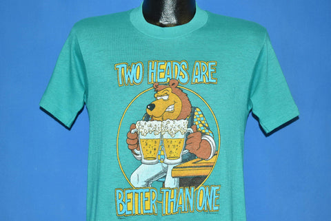 80s Two Heads Are Better than One Beer Bear Cartoon t-shirt Small