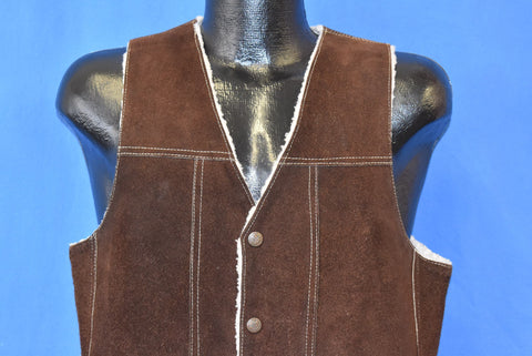 70s Genuine Leather Brown Suede Sherpa Lined Vest Small
