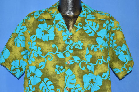 60s Aloha Green Blue Bark Cloth Hawaiian Shirt Extra Large