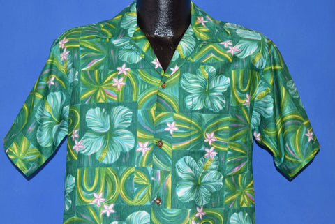 60s Green Floral Hibiscus Aloha Hawaiian Shirt Medium