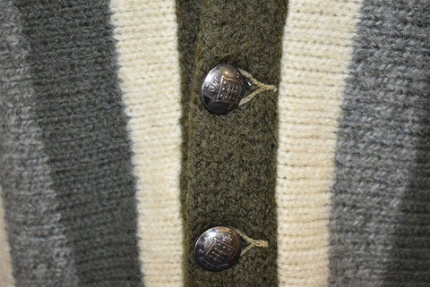 50s Olive Green Gray Striped Cardigan Sweater Extra Small
