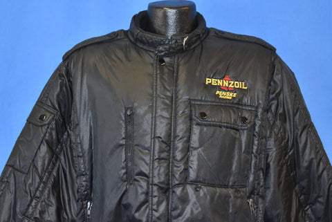 80s Pennzoil Penske Racing Puffy Black Jacket Large