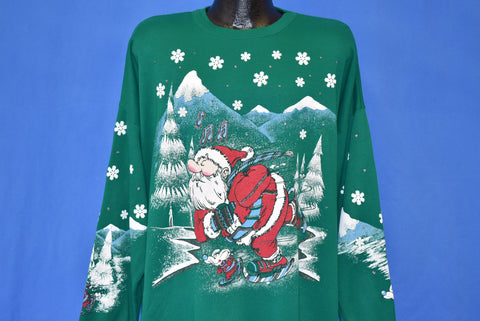 90s Christmas Santa Claus Mouse Skating Sweatshirt XXL