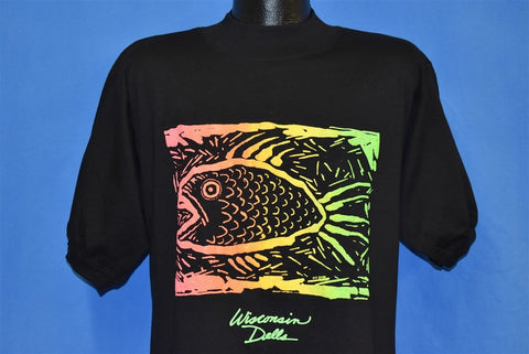 80s Wisconsin Dells Rainbow Fish Puffy Paint t-shirt Large