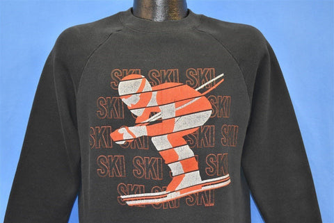 80s Ski Skiing Checkered Sweatshirt Medium