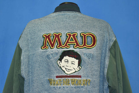 90s MAD Magazine What Me Worry? Denim Jacket Extra Large