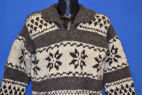 70s Cowichan Indian Knit Pullover Sweater Medium