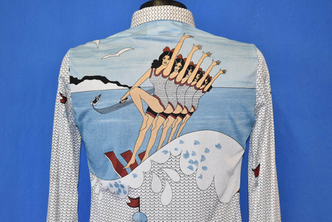 70s Synchronized Water Skiing Nylon Disco Shirt Small