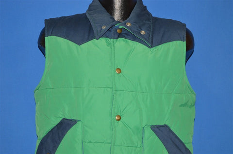 80s Trails West Green Blue Western Puffy Ski Vest Large