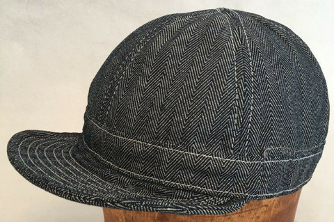 Six Panel Workman Cap in HBT Denim Size: S/M