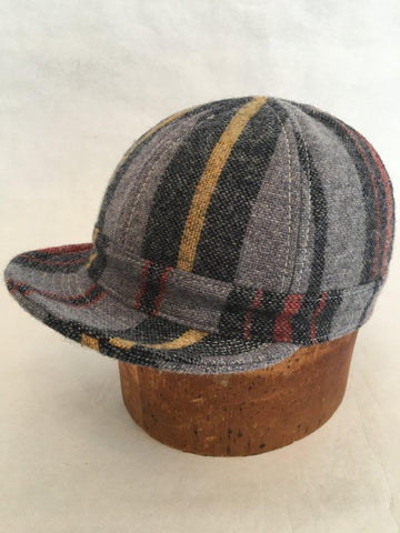 Six Panel Workman Cap in Woolrich Stripe Wool Size: XXL