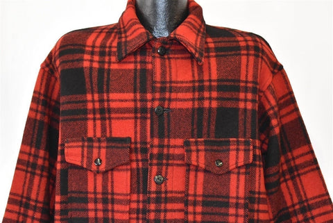 70s Pendleton Cruiser Red Black Plaid Wool Jacket Extra Large