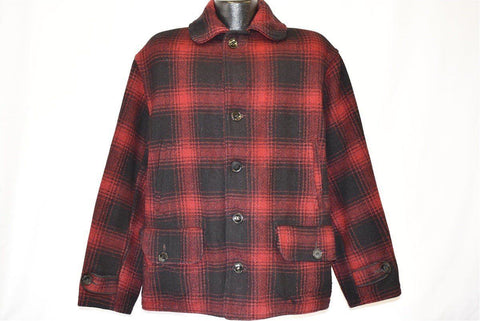 50s Drybak Red Black Buffalo Plaid Wool Coat Extra Large