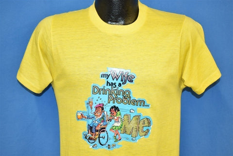 80s My Wife Has a Drinking Problem Glitter Iron On t-shirt Small