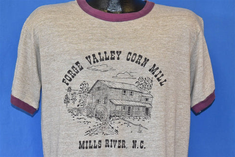 80s Forge Valley Corn Mill Rayon Tri Blend Ringer t-shirt Large