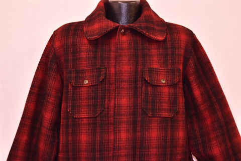 50s Woolrich 503 Wool Red Black Plaid Hunting Jacket Large