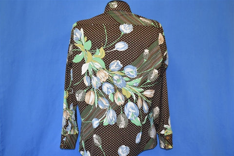 70s Fillippe Brown Polka Dot Tulip Floral Disco Shirt Large