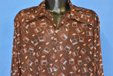 70s Triumph Brown Geometric Nylon Disco Shirt Large