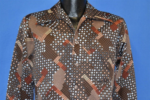 70s Abstract Geometric Brown Blue Disco Shirt Small