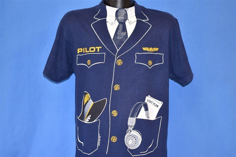 80s Pilot Uniform Tie Airline Plane Costume t-shirt Large