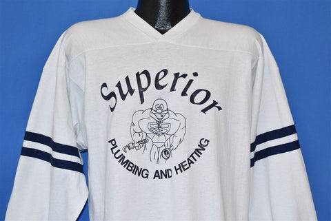 80s Superior Plumbing and Heating Muscle Jersey t-shirt Large