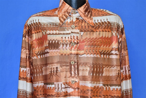 70s Beach Scene Ocean Swimsuit Disco Shirt Large
