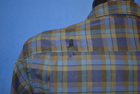 50s Penny's Towncraft Blue Plaid Loop Collar Shirt Medium